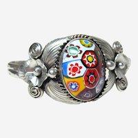 Vintage Sterling Millefori Cabochon Bracelet
