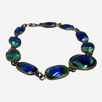 Vintage Peacock Eye Glass Bracelet