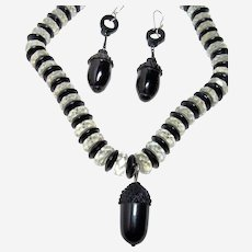 Victorian Carved Whitby Jet Necklace and Earrings