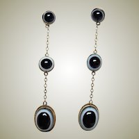 Antique Banded Agate 10kt Gold Dangle Earrings