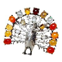Arts and Crafts Mexican Fire Opal Peacock Brooch