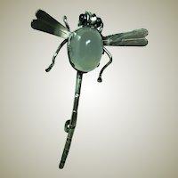 Antique Moonstone Dragon Fly Brooch