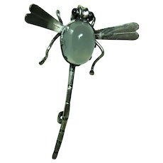 Antique Moonstone Dragon Fly Brooch