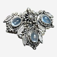 Vintage Sterling and Moonstone Brooch