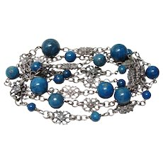 Arts and Crafts Long Sodalite Silver Necklace