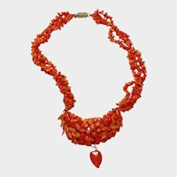 Antique Victorian Carved Coral Necklace