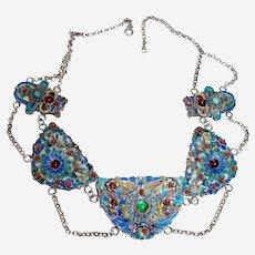 Antique Chinese Enamel Festoon Necklace