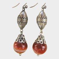 Vintage Sterling Agate Earrings