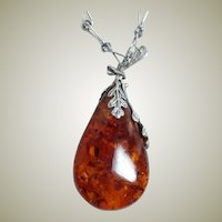 Vintage Sterling Large Amber Drop Necklace