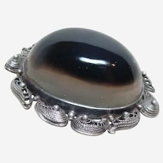 Large Victorian Agate Brooch