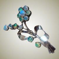 Vintage Opal Floral Brooch