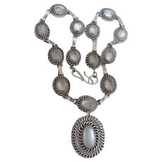 Arts and Crafts Moonstone Pendant Necklace