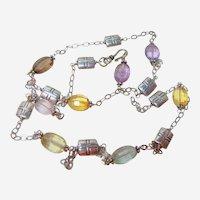 Vintage Multi Stone Silver Necklace