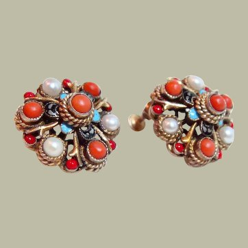 Vintage Hungarian  Coral and Pearl Earrings
