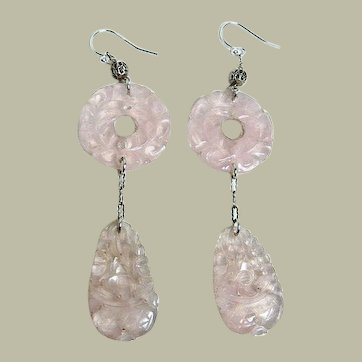 Vintage Carved Rose Quartz Sterling Drop Earrings