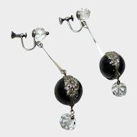 Vintage Black Pools of Light Earrings