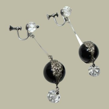 Vintage Black Pools of Light Earrings