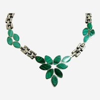 Vintage Silver and Malachite Necklace