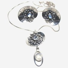 Vintage Silver Lilly Pad and Moonstone Parure