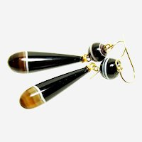 Excellent Vintage Banded Agate Drop Earrings