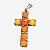 Vintage Sterling Amber Cross