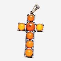 Vintage Sterling Amber Cross