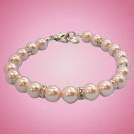 Vintage Carolee Light Pastel Pink Imitation Pearls Rhinestone Bracelet