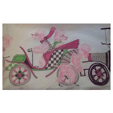 Adorable Pink French Poodles Driving in Old Model Cars Kitchen Apron Circa 1950's