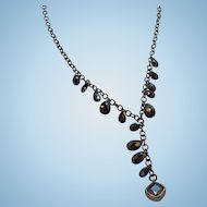 Vintage Carolee Y Shaped Black Faceted Glass Dangle Drops Necklace