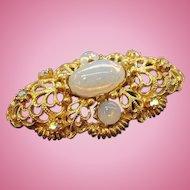 Vintage Goldtone Metal Brooch Opalescent Glass Stones  Aurora Rhinestones