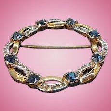 Vintage Mazer Rich & Elegant Circle Brooch  Sapphire Blue & Clear Rhinestones