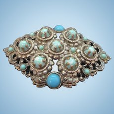 Vintage Ornate Textured Silvertone Metal Brooch 3-Dimensional Blue Cabochon Stones