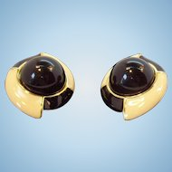 Vintage Monet Large Creme Black Clip on Earrings
