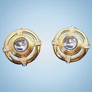 Monet Large Round 3-D Ice Blue Goldtone Metal Clip on Earrings