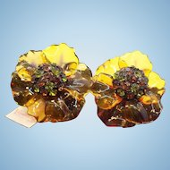 Vintage Vendome  Cellulose Acetate Rhinestone Flower Earrings  Mint with Original Hang Tag