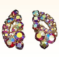 Vintage Sparkling Red Aurora Borealis Rhinestones Clip On Earrings