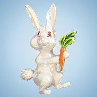 Vintage White Iridescent Enameled Bunny Rabbit Holding a Carrot Pin