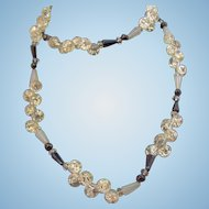Vintage Black Opalescent Clear Crackle Glass Beaded Necklace
