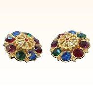 Vintage Large 3-D  Jewel Tone Colored Rhinestone Clip on Earrings  Circa  1980's