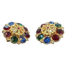 Vintage Large 3-D  Jewel Tone Colored Rhinestone Clip on Earrings  Circa  1980's