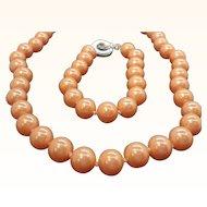 Vintage Carolee Peachy Orange Imitation Pearls Necklace & Bracelet Set