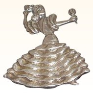 Vintage Spanish Flamenco Dancer Sterling Silver Brooch Mexico Circa 1940's