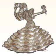 Vintage Spanish Flamenco Dancer Sterling Silver Brooch Mexico Circa 1940's