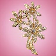 Vintage Napier Goldtone Metal  Rhinestone Floral Bouquet Brooch