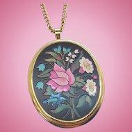 Vintage Avon Florentine Pink, Green, White Flowers Pendant Necklace  1974