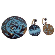 Vintage Bergere Black & Blue Enameled Metal Brooch & Earring Set