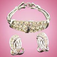 Vintage Coro Silvertone Metal & Clear Rhinestone Bracelet & Clip On Earring Set