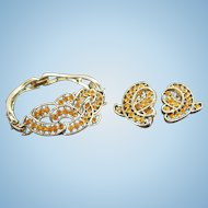 Vintage Kramer Citrine Colored Rhinestone Bracelet & Earring Set