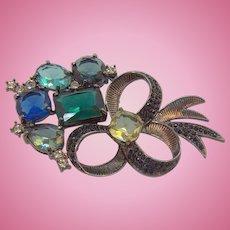 Vintage Avon Floral Bouquet Brooch Large Blue Green Glass Stones