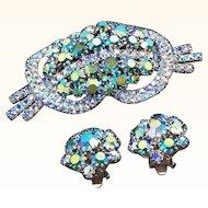Vintage Aurora Borealis Blue Rhinestone Brooch and Matching Clip Earrings Set